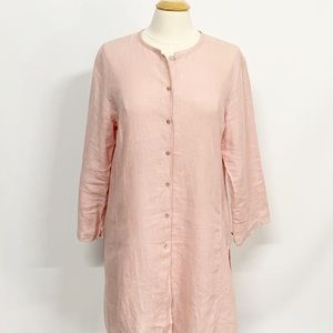 Eileen Fisher | Pink Long Linen Cardigan M